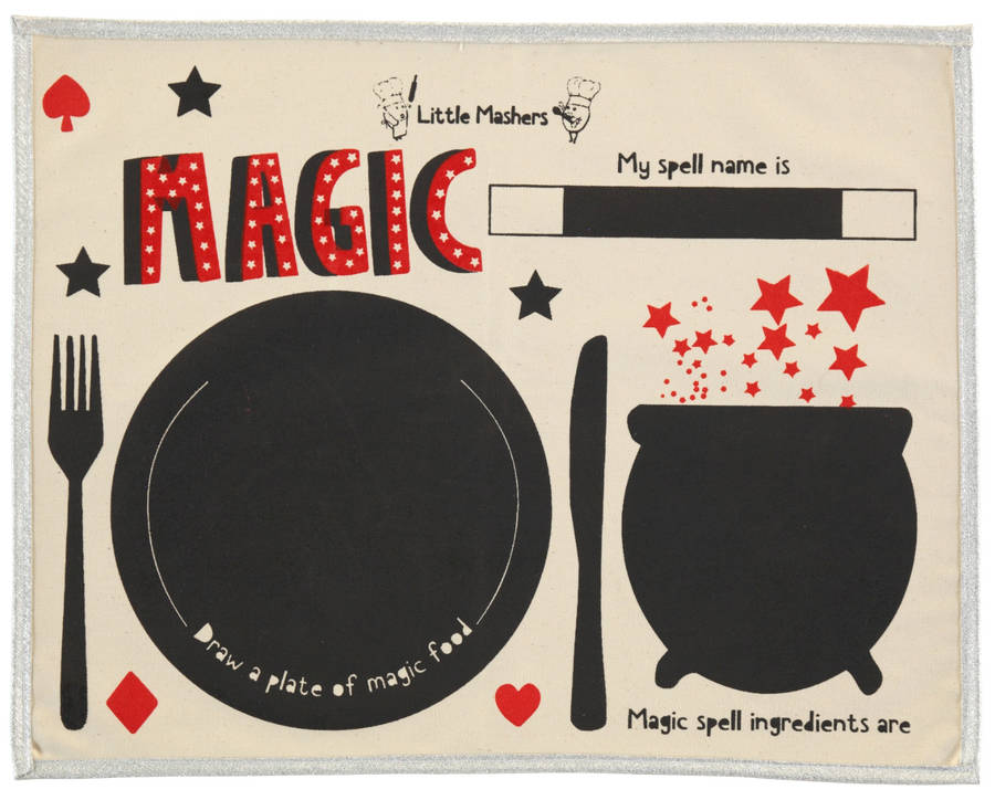 Kids Chalkboard Placemat Superhero Design By Little