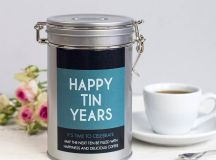 personalised anniversary coffee gift tin by novello ...