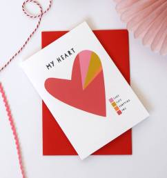 my heart a pie chart personalised valentines card  [ 1024 x 1024 Pixel ]