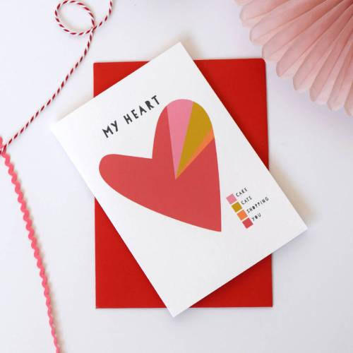 small resolution of  my heart a pie chart personalised valentines card