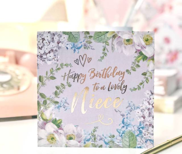 Happy Birthday Niece Botanical And Gold Greeting Card