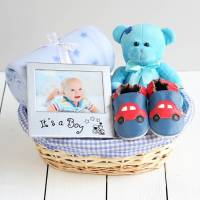 beautiful boy new baby gift basket by snuggle feet ...