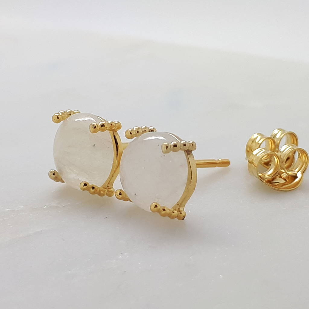 moonstone gold stud earrings by gabi wolf jewellery