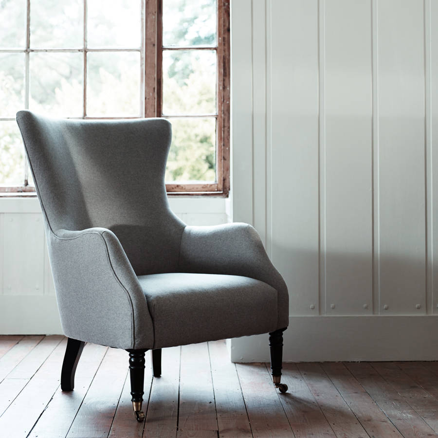 Wing Back Chairs Bromley Wing Back Chair Grey Wool