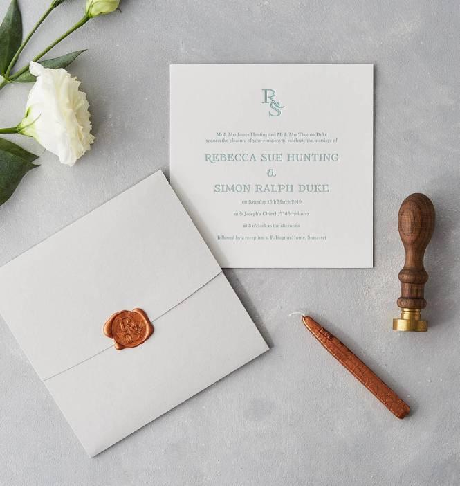 Wax Seal Letterpress Wedding Invitation