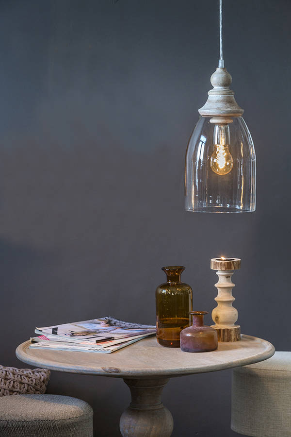 Glass And Natural Wood Pendant Light By Red Lilly Notonthehighstreet Com