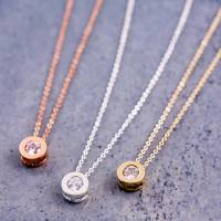round solitaire necklace and earring gift set by j&s