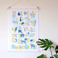 a z of animals fabric wall hanging by stephanie cole ...
