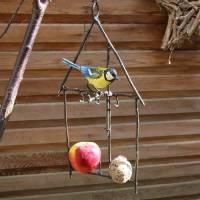 bird feeder with bluetit decoration by london garden