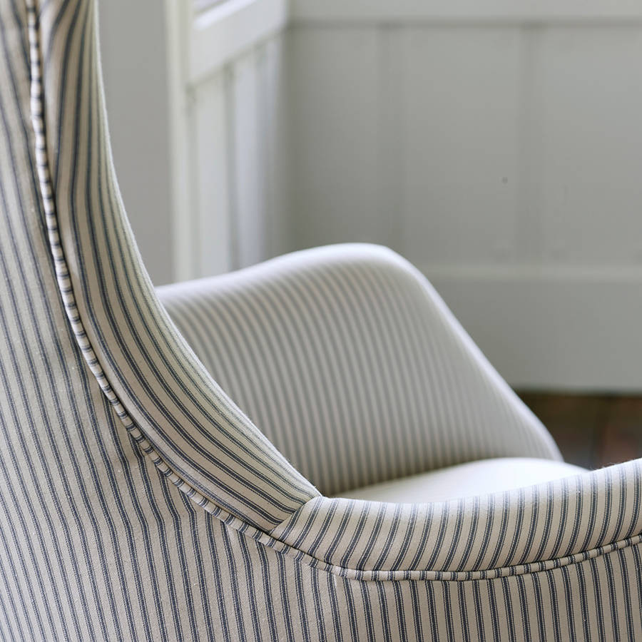 bromley wing back chair grey ticking stripe by rowen