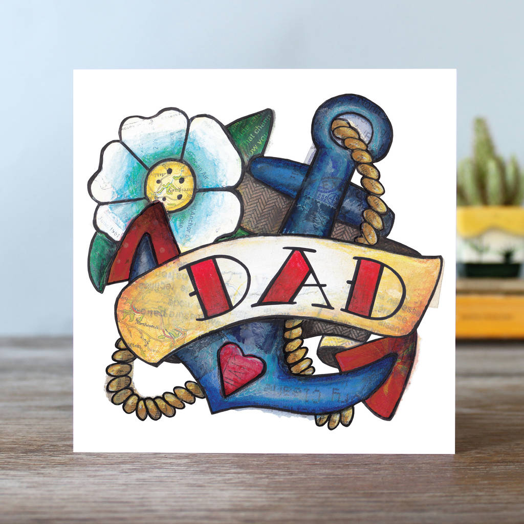 Dad Tattoo Birthday Greetings Card By Angie Beal Designs