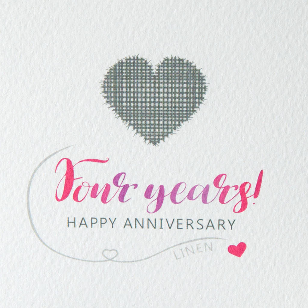 fourth wedding anniversary card linen by miss shelly designs  notonthehighstreetcom
