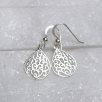 sterling silver teardrop filigree earrings by mia belle ...