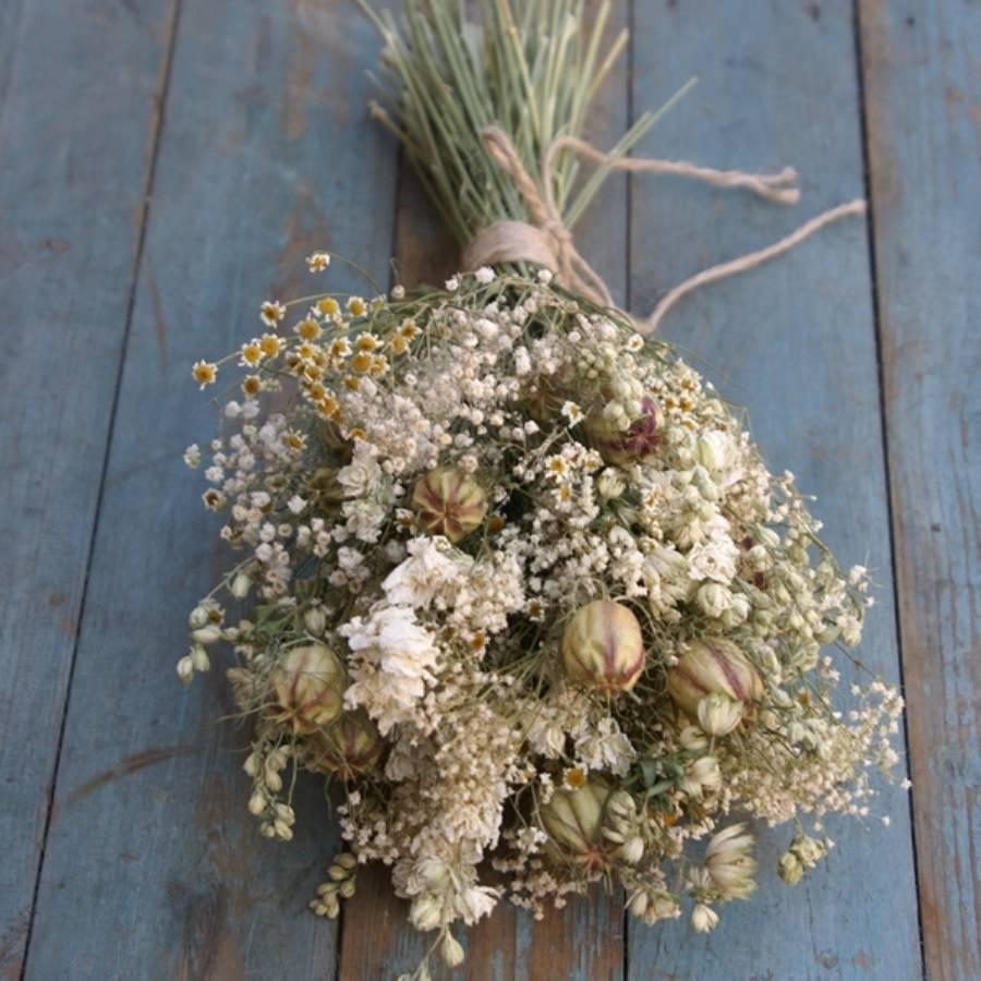 Wild Meadow Dried Flower Wedding Bouquet By The Artisan