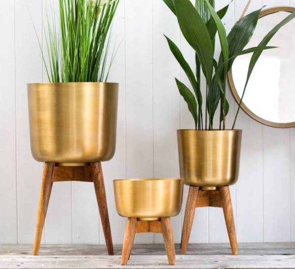 Brass Plant Pot Wooden Stand Forest &