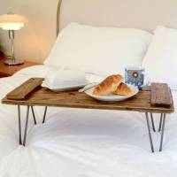wooden breakfast tray on hairpin legs by storywood ...