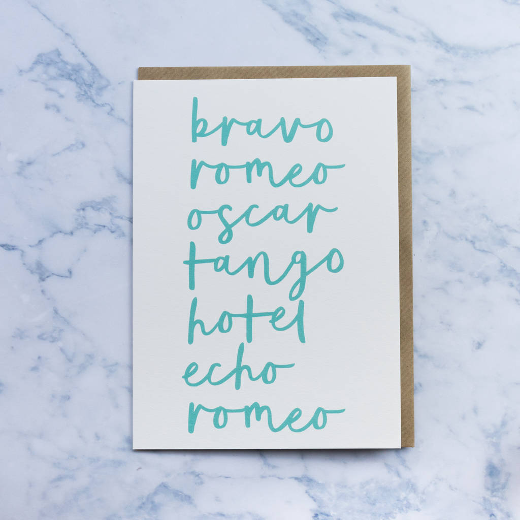 'brother' Birthday Card Phonetic Alphabet By Paperpaper