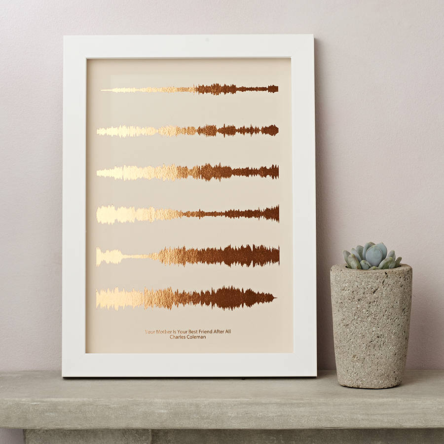 Metallic Personalised Favourite Song Sound Wave Print By