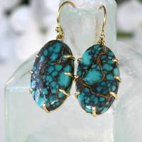 spiderweb turquoise earrings in 18ct gold by lilia nash ...