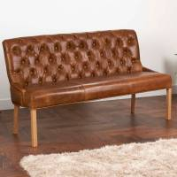vintage leather or harris tweed buttoned sofa bench by the ...