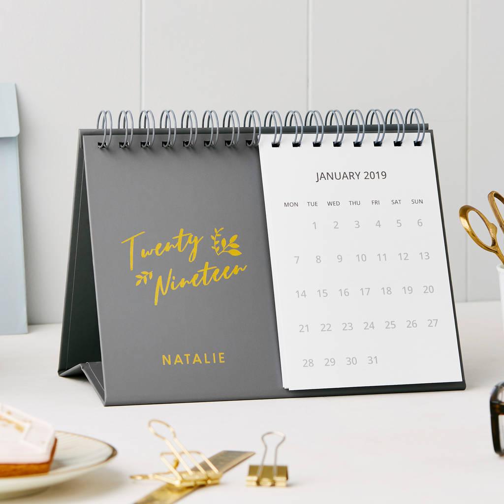 personalised charming 2019 desk calendar by martha brook