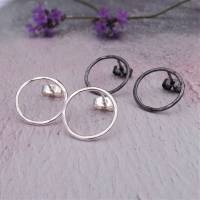 circle sterling silver hammered stud earrings by jewellery ...