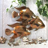 copper fish trio garden wall art sculpture by london ...