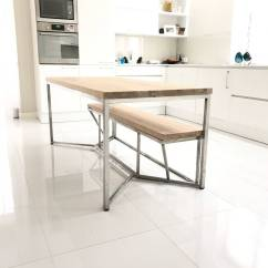 Stainless Steel Kitchen Table Ge Appliances Solid Oak Dining By Cosywood