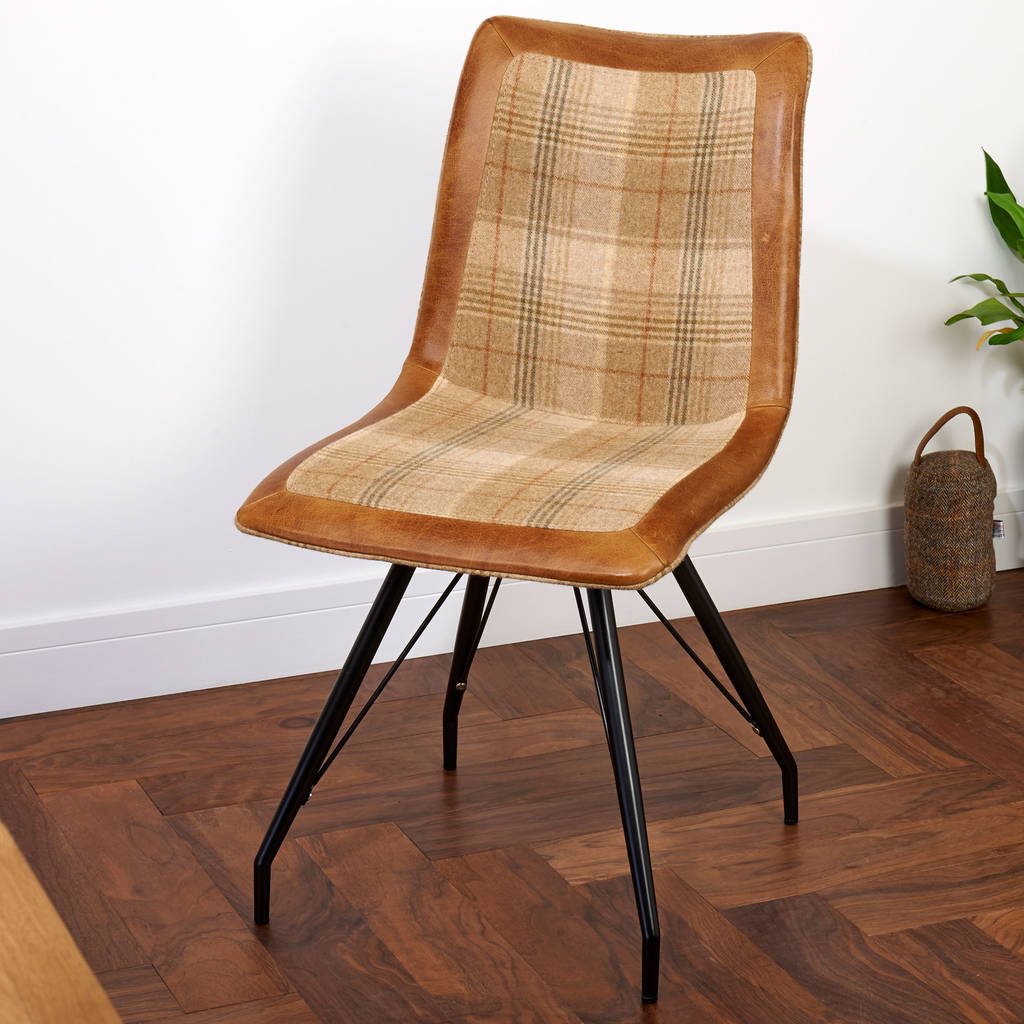 Tweed Chair Vintage Leather Or Harris Tweed Dining Chair By The