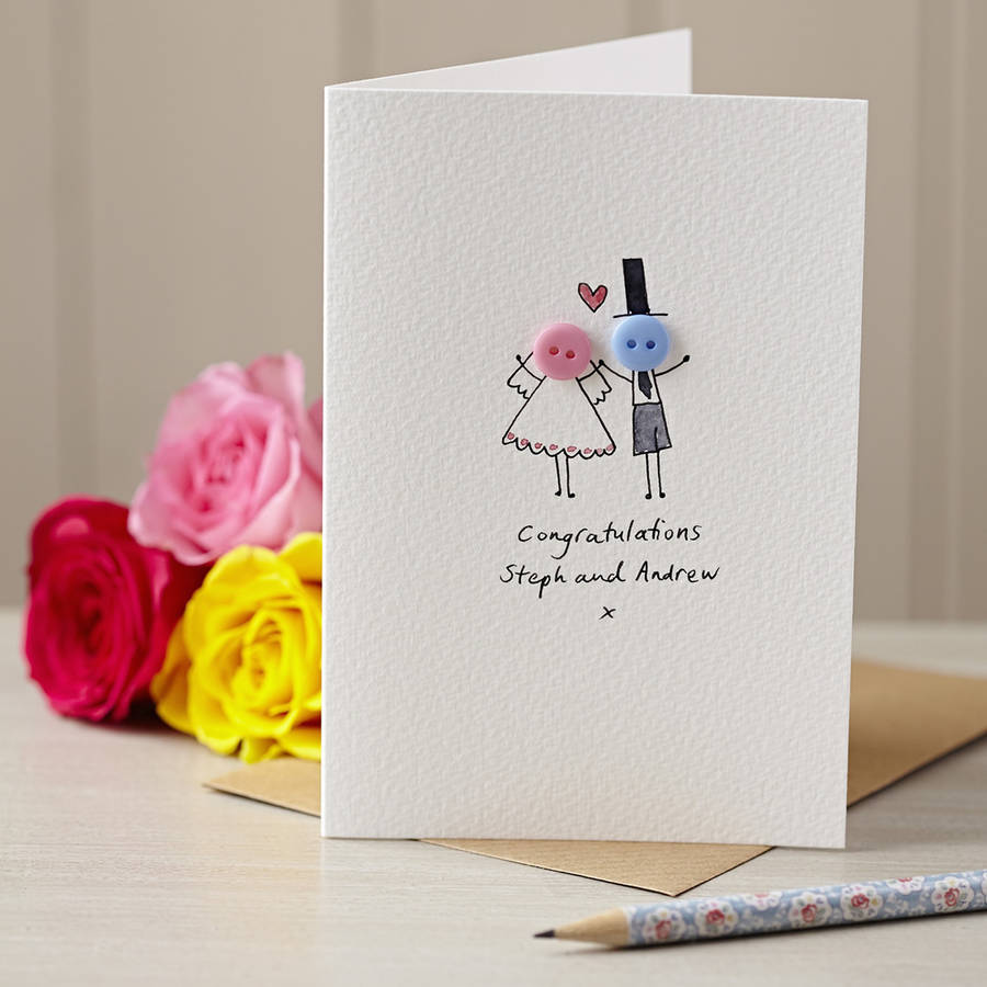 Personalised Button Wedding Hand Illustrated Card By