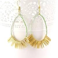 gold fringe mint green statement earrings by gaamaa ...