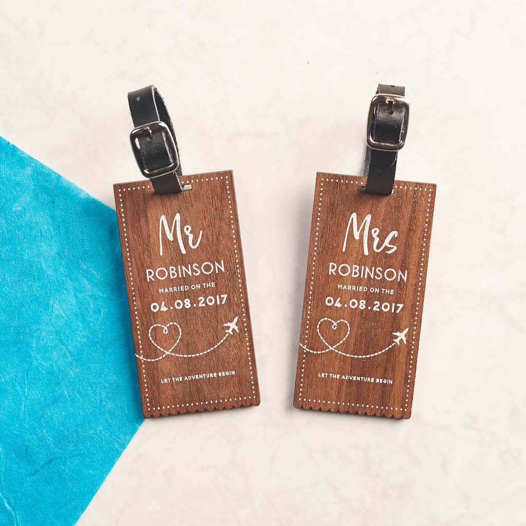 personalised walnut wedding luggage tags by oakdene