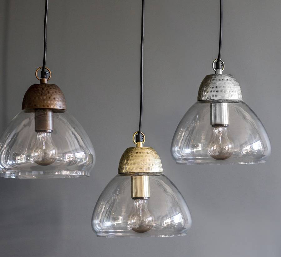 etched metal and glass pendant lights by the forest & co