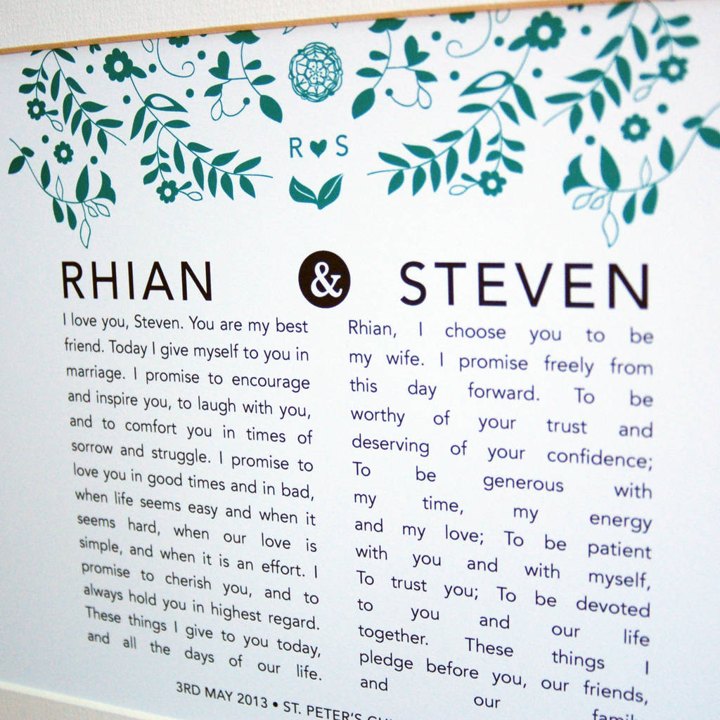 personalised bride and groom wedding vow print by ant