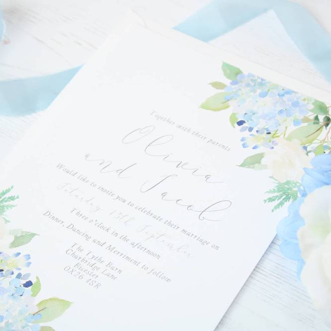 Fleuriste Blue Hydrangea Rose Wedding Invitation Sample