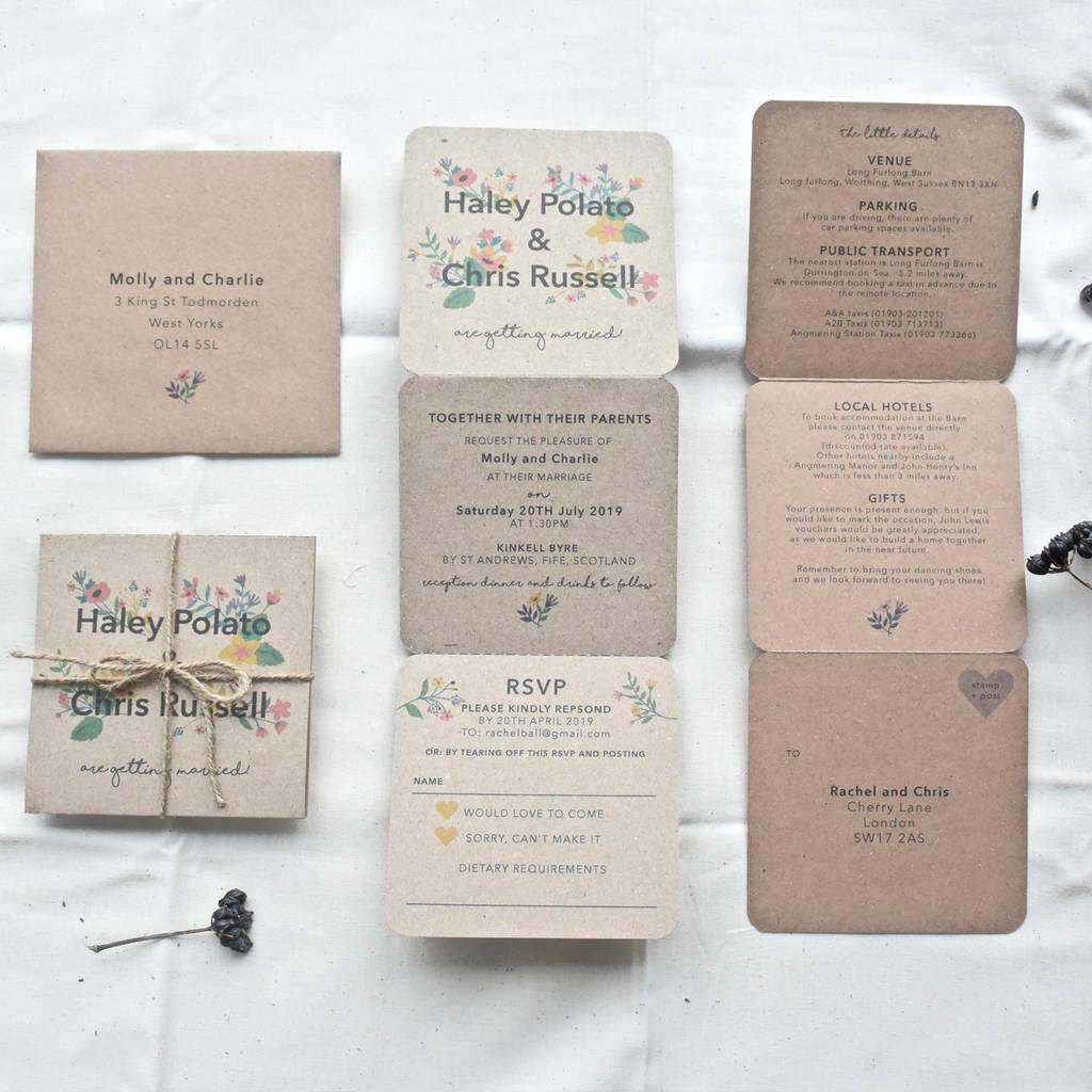 Personalised Rustic Wedding Invitations