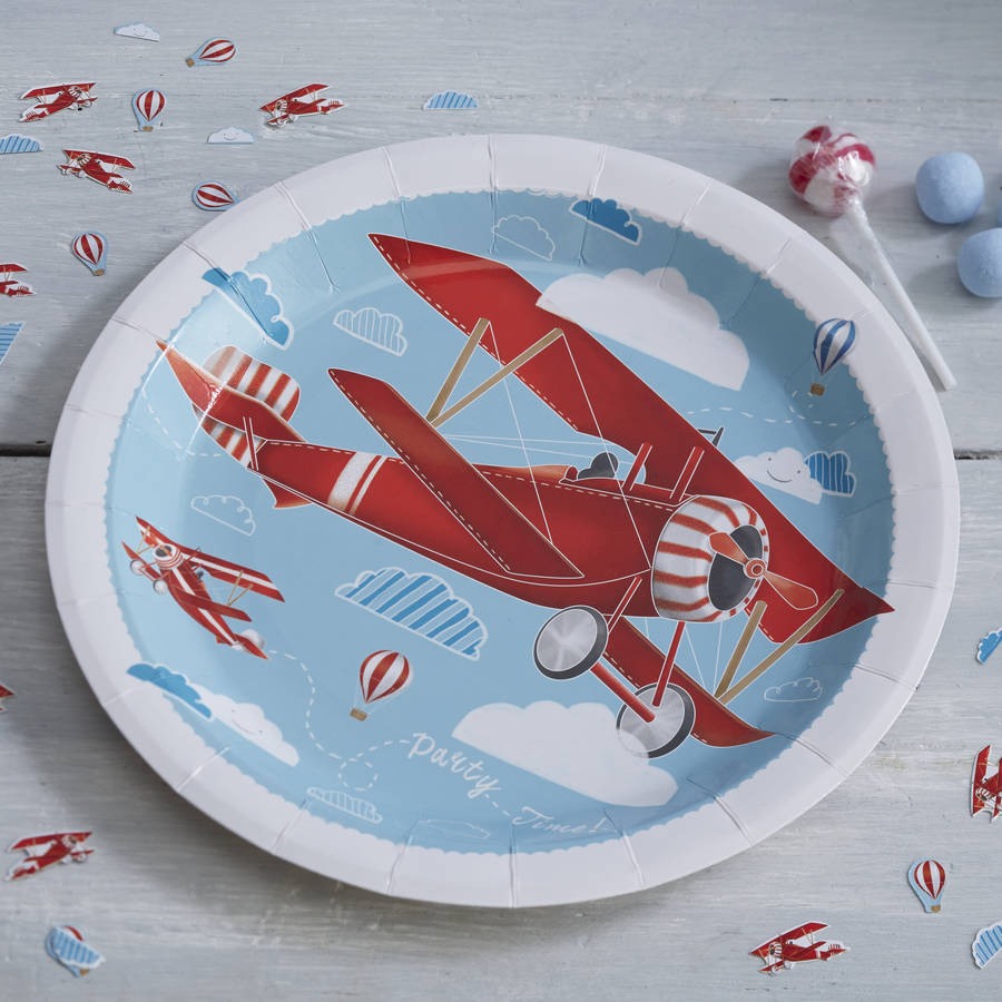 Vintage Plane Paper Party Plates By Ginger Ray