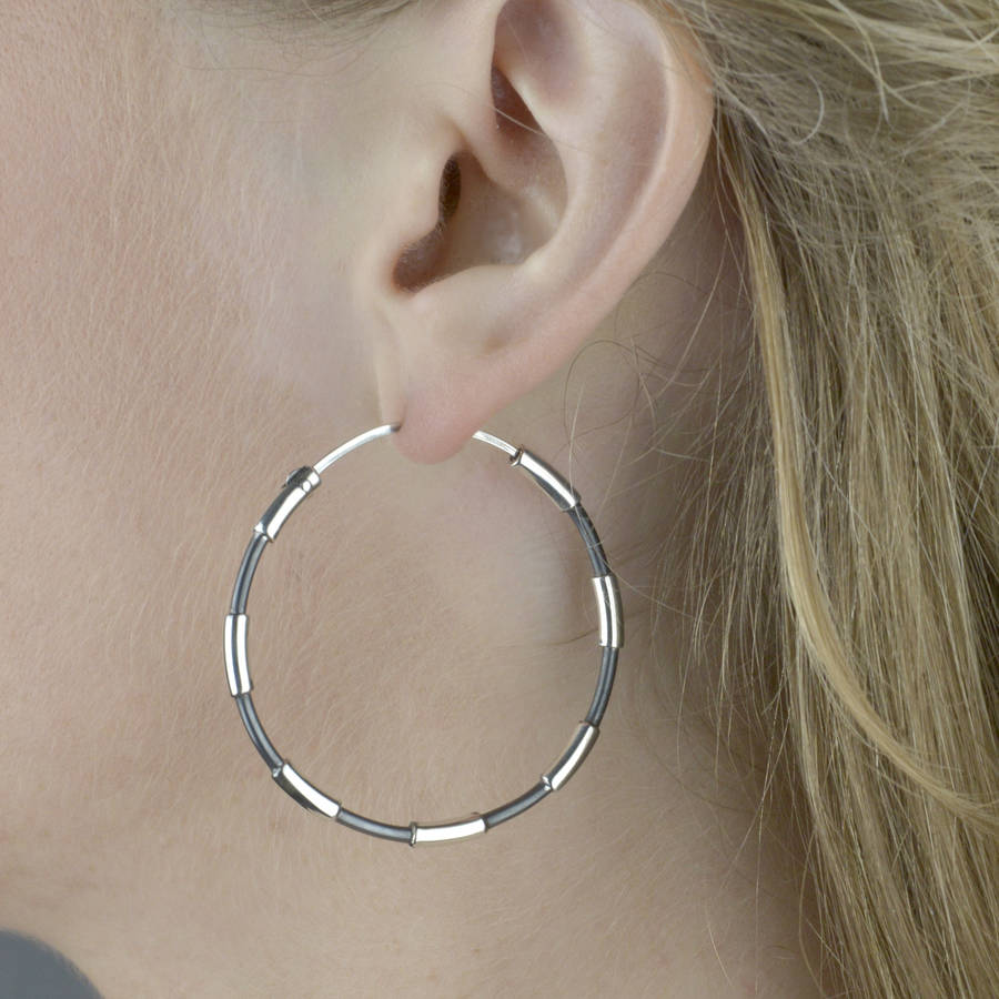large two tone sterling silver hoop earrings by the london