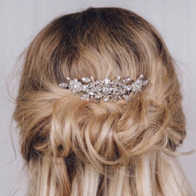 small elegant crystal wedding hair comb elsa