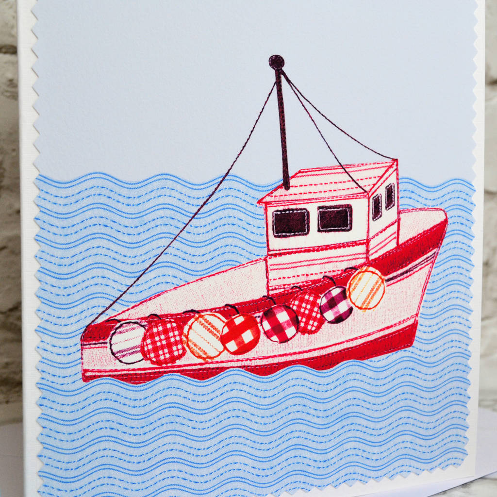 'fishing Boat' Personalised Birthday Card By Jenny Arnott