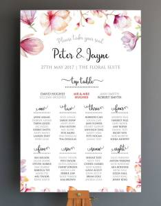 Personalised floral wedding seating plan also by cherry pete rh notonthehighstreet