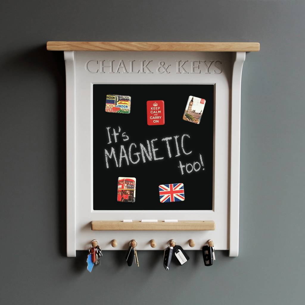 chalk board and magnetic noticeboard with key rack by