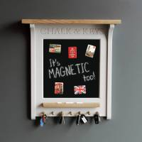 chalk board and magnetic noticeboard with key rack by ...