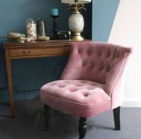 dusky pink velvet button back bedroom chair by ella james ...