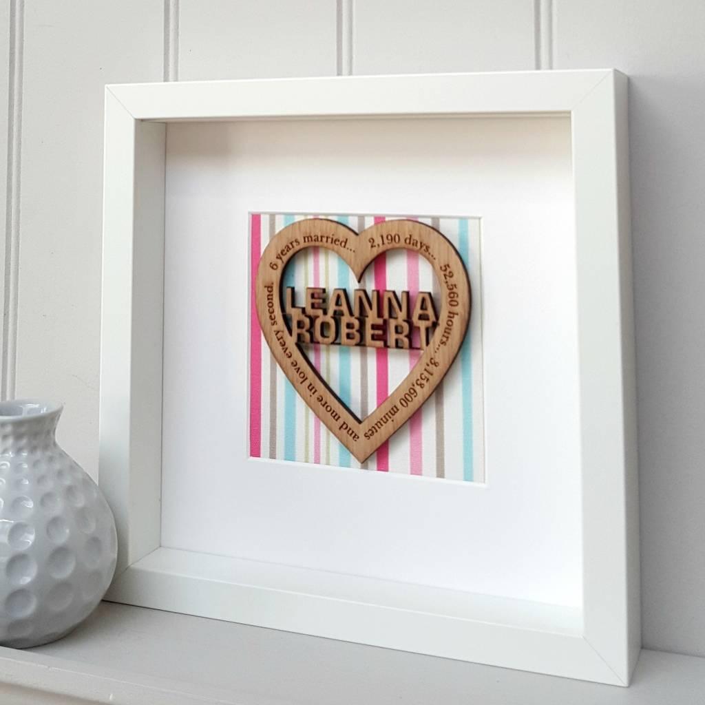 6th wedding anniversary candy stripe oak wooden heart by