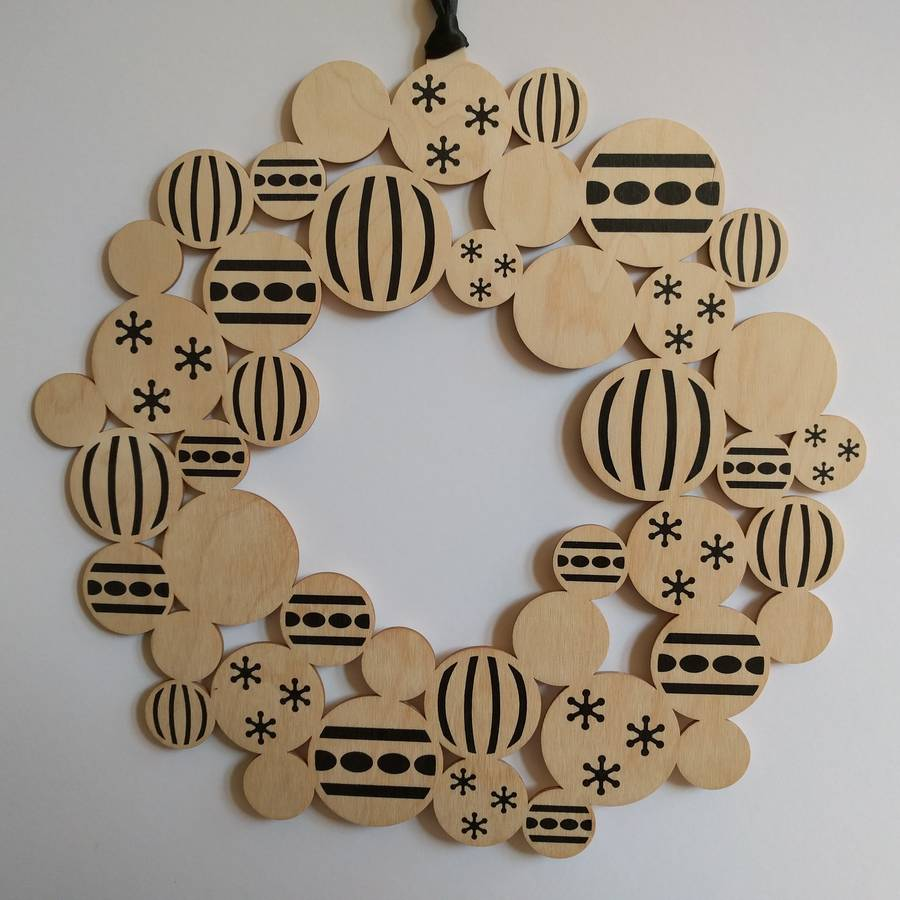 Screenprinted Wooden Bauble Christmas Wreath By Gilbert13