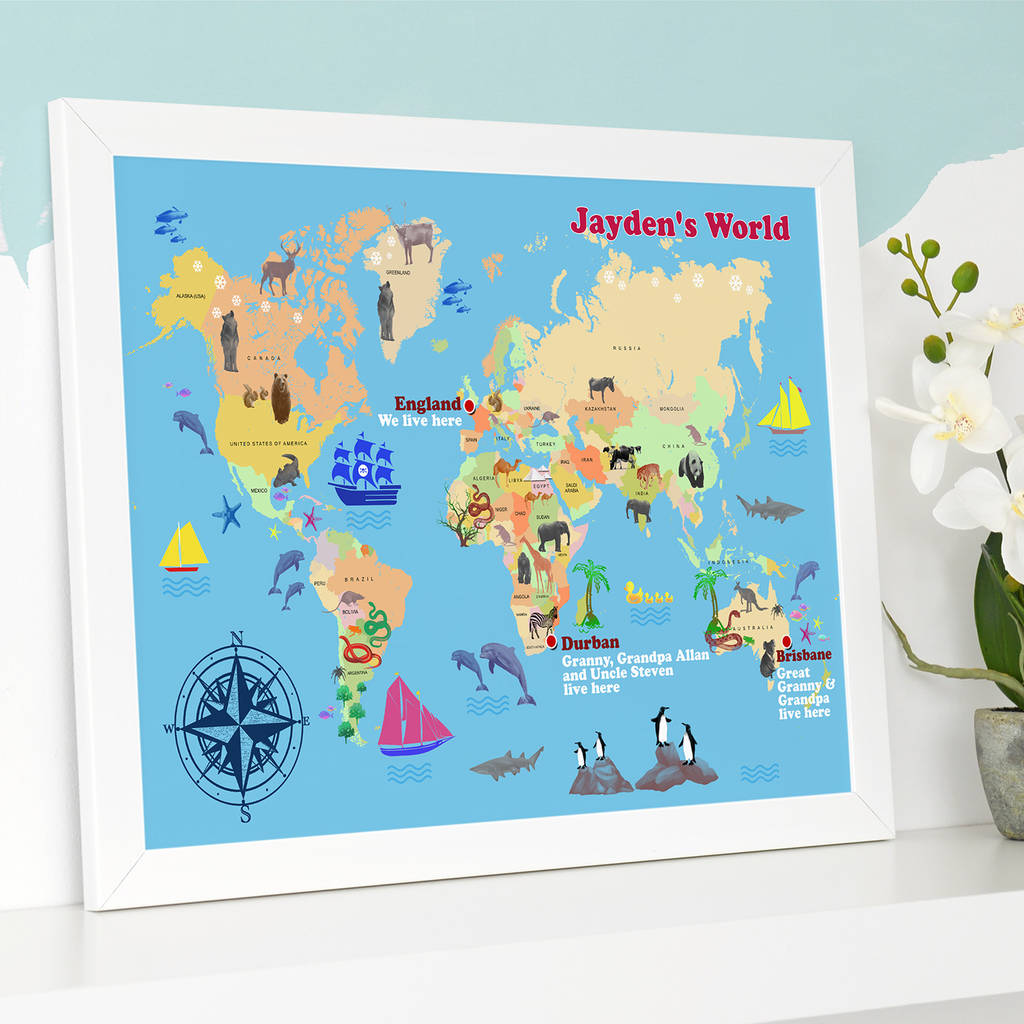 Personalised Child S World Map Print By Cherry Pete