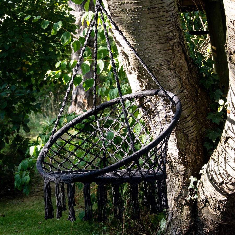 hanging chair notonthehighstreet revolving accent black macrame by ella james com