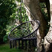 black macrame hanging chair by ella james ...