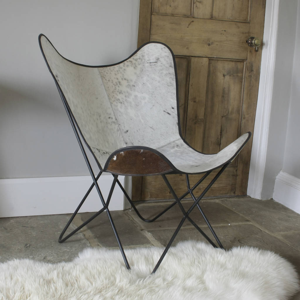 White Butterfly Chair White Cowhide Butterfly Chair By Ella James